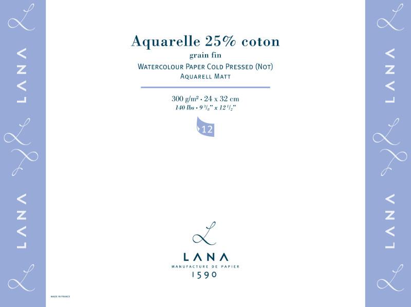 Akvarellblock LANA Aquarelle 300 g  240 x 320. 12ark #