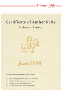 InkJet Hahnemühle Certificate of Authenticity A4 25ark + 50 holograms