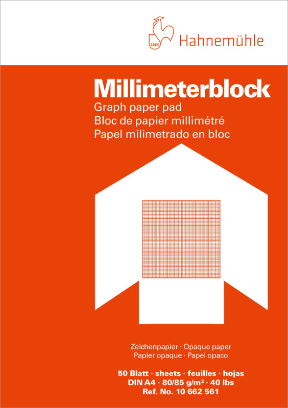 Millimeterblock Hahnemühle 80/85g A4/red 50ark (5F)