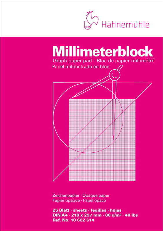 Millimeterblock Hahnemühle 80g red A4 25ark (10F)