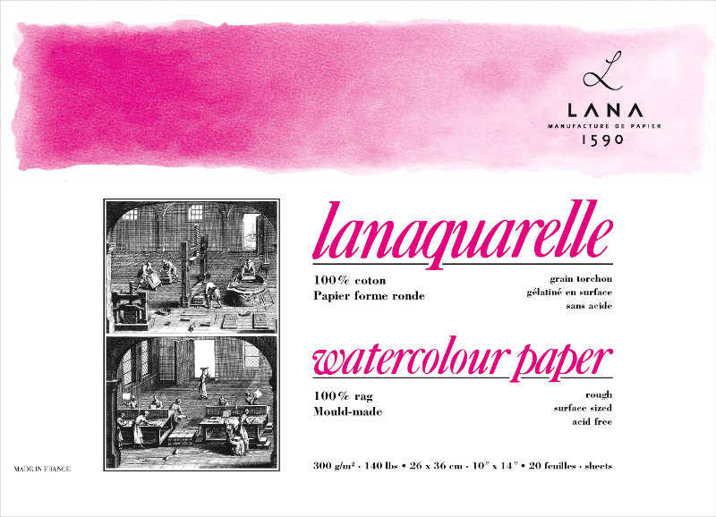 Akvarellblock LANA Lanaquarelle 300 g Rough 230 x 310. 20ark