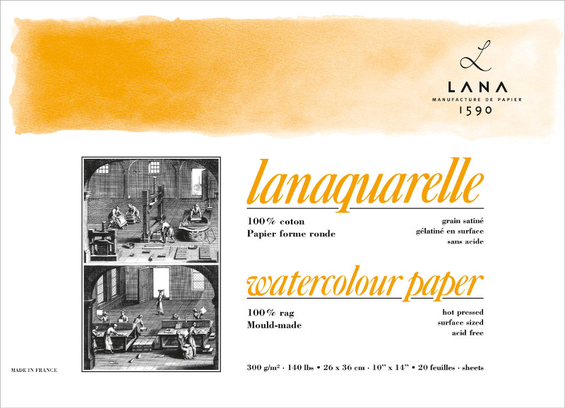 Akvarellblock LANA Lanaquarelle 300 g HotP. 230x310. 20ark