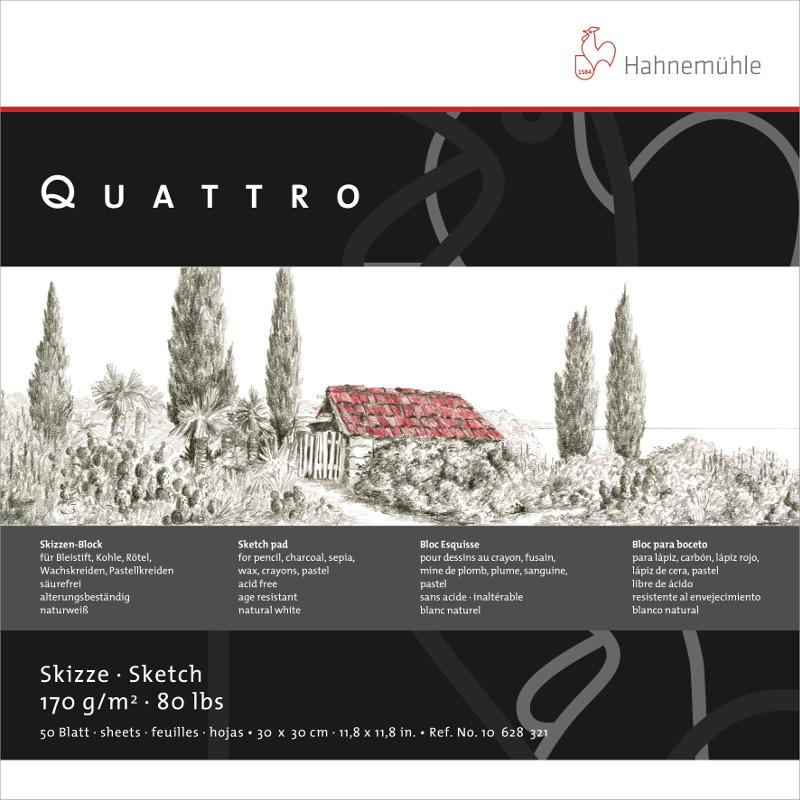 Ritblock Hahnemühle Sketch Quattro 170g 25,4x25,4cm 50ark (5F)
