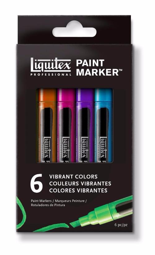 Akrylmarkerset Liquitex  LQX Paint Marker Fine 6 set Vibrant
