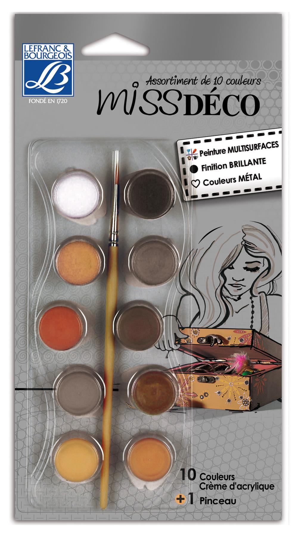 Hobbyfärgset L&B Deco Miss 10x4ml metallic Utgår