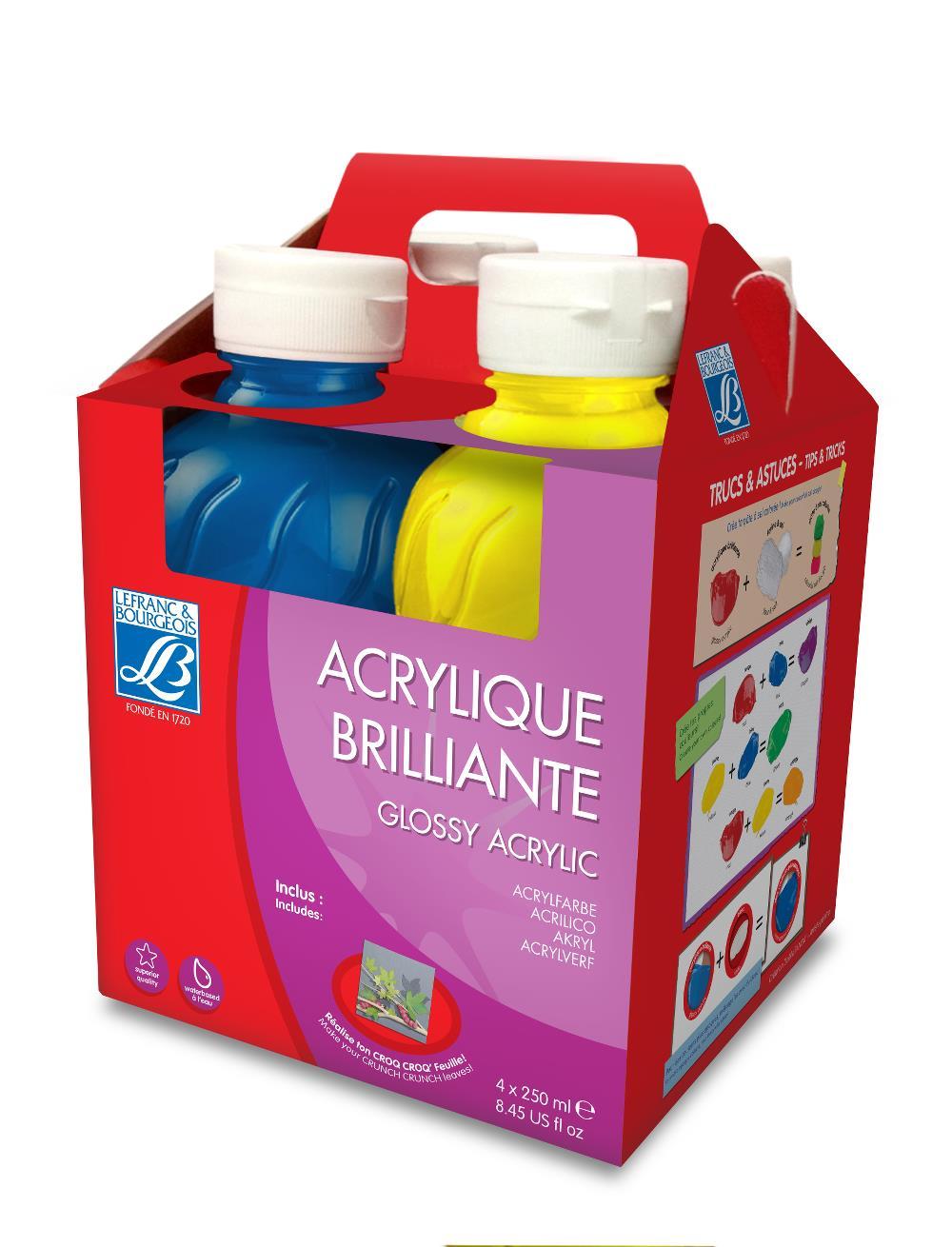 Skolfärgset L&B Education  Akrylfärg glossy 4x250 ml Utgår