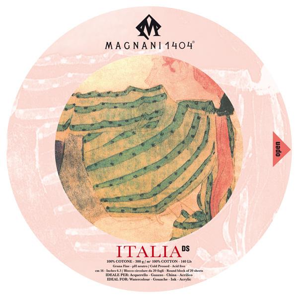 Akvarellblock Magnani 1404 Italia DS 300g GF Rund 16cm 20ark