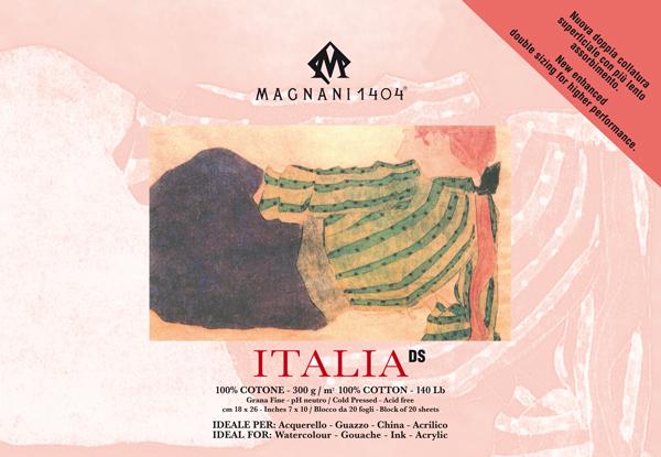 Akvarellblock Magnani 1404 Italia DS 300g GF 18x26cm 20ark