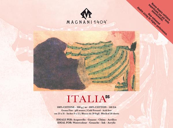Akvarellblock Magnani 1404 Italia DS 300g GF 23x31cm 20ark