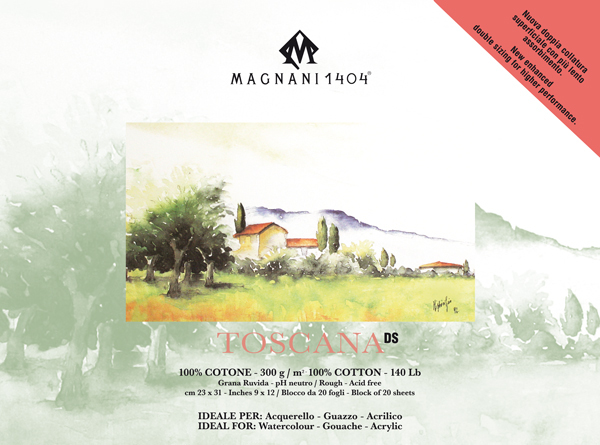 Akvarellblock Magnani 1404 Toscana DS 300g GG 23x31cm 20ark