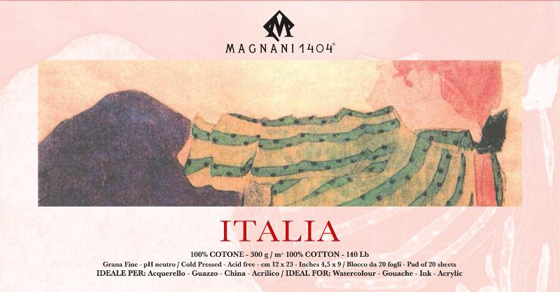 Akvarellblock Magnani Italia 300g GF 12x23cm 20ark (12F)