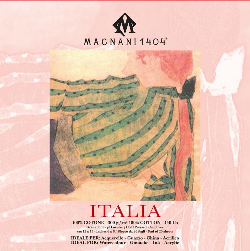 Akvarellblock Magnani Italia 300g GF 15x15cm 20ark (12F)