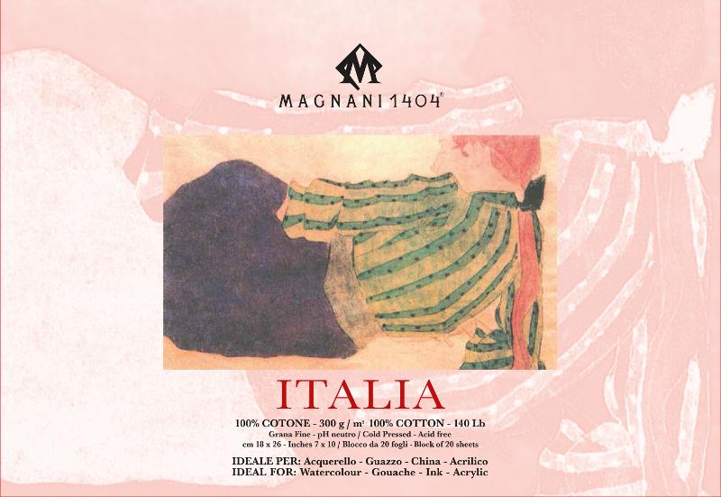 Akvarellblock Magnani Italia 300g GF 18x26cm 20ark (12F)