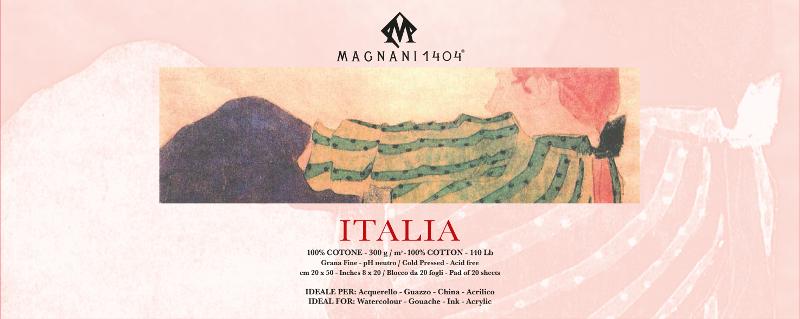 Akvarellblock Magnani Italia 300g GF 20x50cm 20ark (12F)