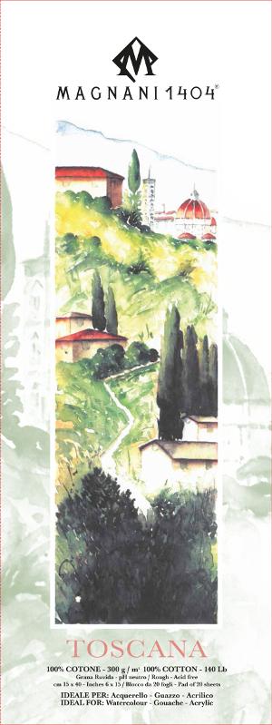 Akvarellblock Magnani Toscana 300g GG 15x40cm 20ark (12F)