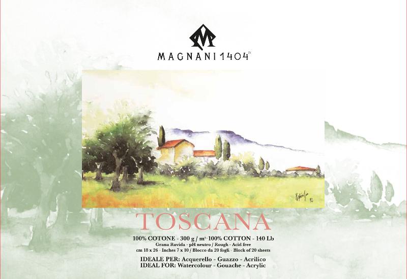 Akvarellblock Magnani Toscana 300g GG 18x26cm 20ark (12F)