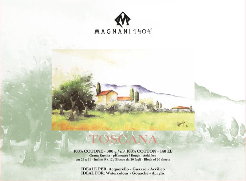 Akvarellblock Magnani Toscana 300g GG 23x31cm 20ark (12F)