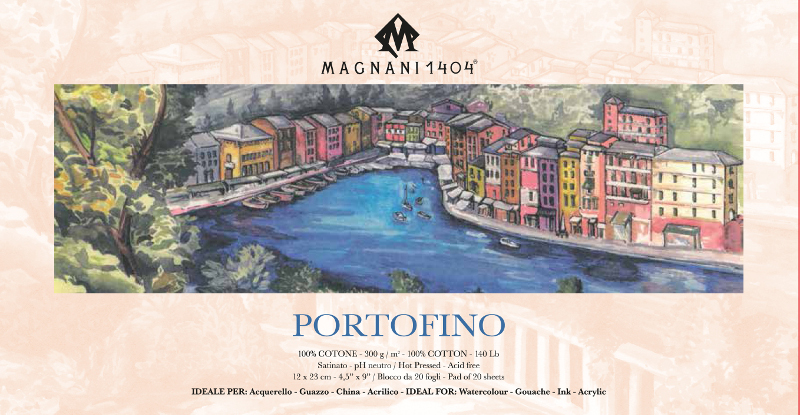 Akvarellblock Magnani Portofino 300g S 12x23cm 20ark (12F)