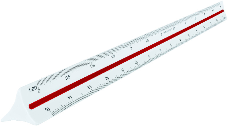 Linjal Maped scale ruler 1:20>1:100 - in plastic tube (5F)