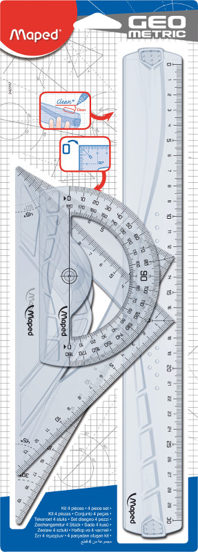 Linjal Maped geometric drafting kit with  2 squares 21cm, 30 cm ruler and 1 protractor (24F)