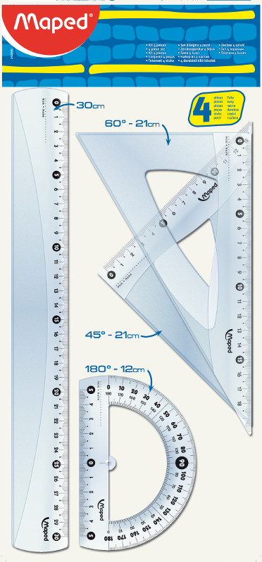 Linjal Maped start drafting kit with 30 cm ruler / 2 squares 21cm / protractor 12cm  (40F)