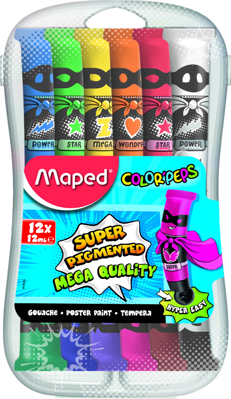 Barnfärg Maped color peps gouache tubes 12x12ml (10F)