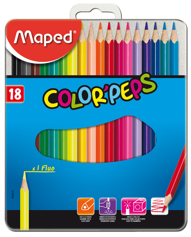 Färgpennset Maped color peps 18 coloured pencils - metal box (12F)