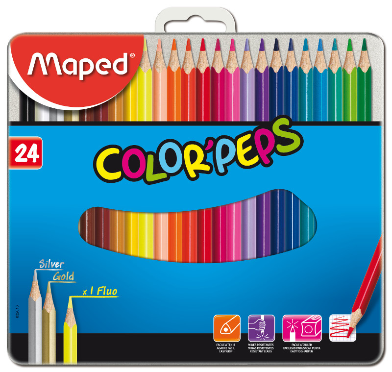 Färgpennset Maped color peps 24 coloured pencils  metal box (8F)