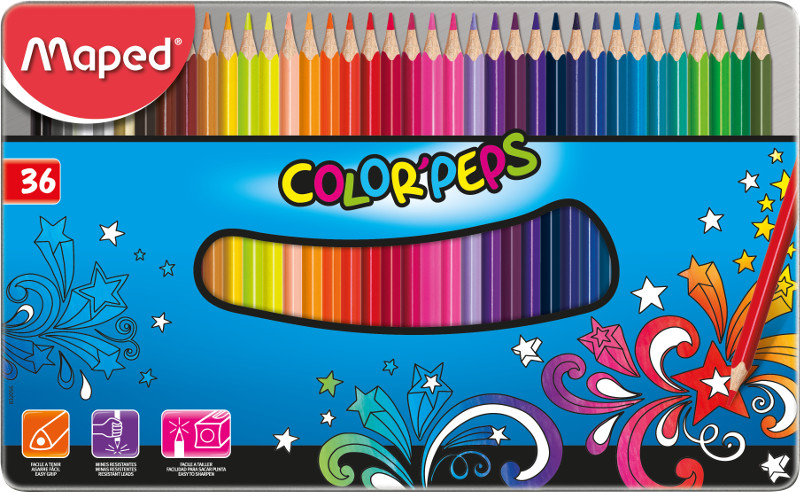 Färgpennset Maped colorpeps 36 coloured pencils in  metal box (6F)