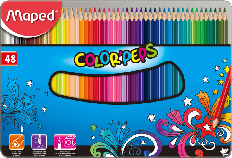 Färgpennset Maped colorpeps 48 coloured pencils in metal box (6F)