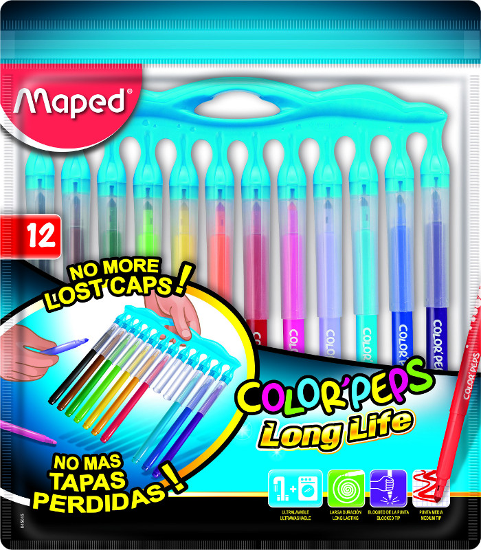"Färgpennset Maped color peps ""long life"" 12 felt tips innovation pouch (12F)"