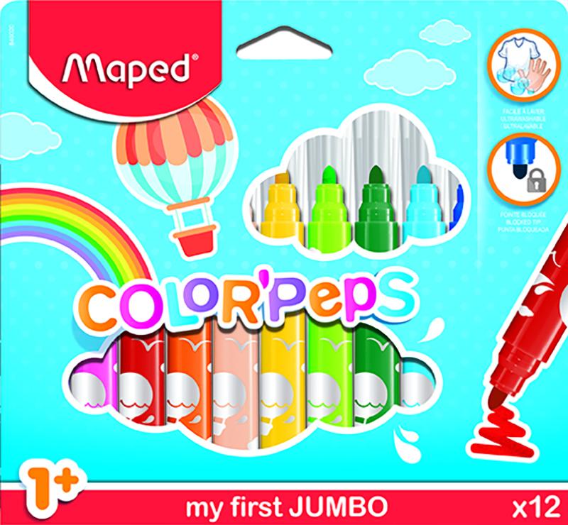 Färgpennset Maped color peps early age ultrawashable 12 felt tip jumbo (12F)