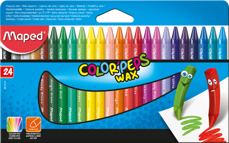 Kritpenset Maped colorpeps 24 wax crayon (12F)