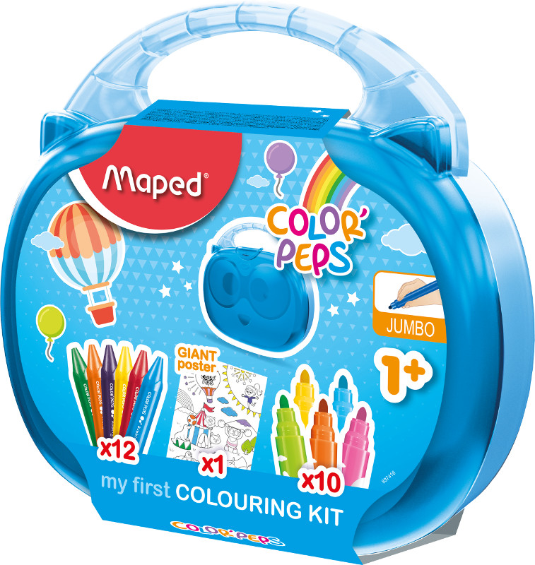 Färgpenn & kritset Maped early age colouring case  (10 felt pens, 12 crayons, 1 poster)