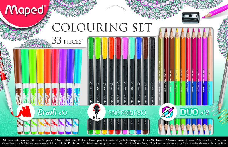Färgpenn & kritset Maped colouring adult set 33 pieces  (6F)