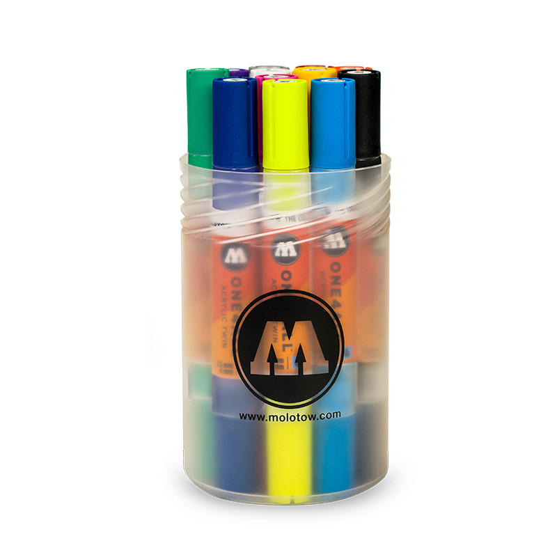 Akrylmarker Molotow TWIN Basic 1. set. 12st 1,5 + 4mm