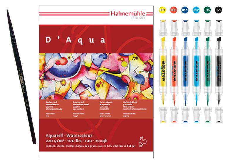 Akvarellmarkerset Molotow AQUA TWIN Basic set 1 6pennor + block Gratis pensel