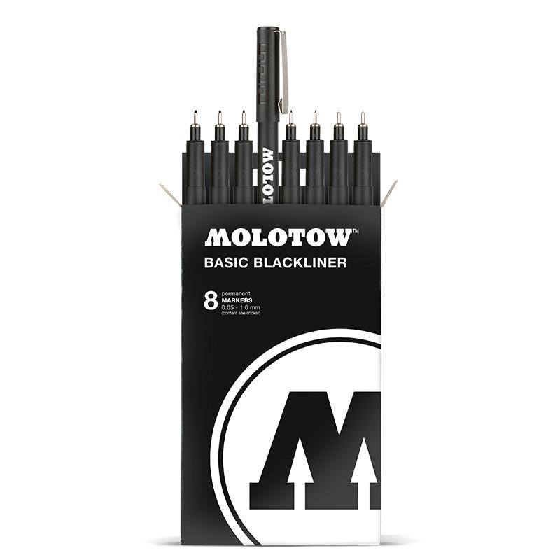 Fineliner Molotow Basic  NY  Blackliner Complete Set 11 pennor (0.05mm-1.0mm, chisel, rund)