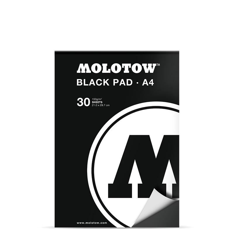 Ritblock Molotow Black Pad Svart ppr. A4 30ark 150g