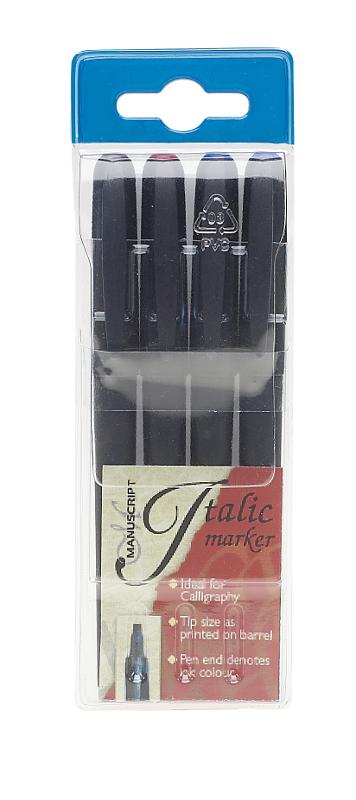 Kalligrafipenna Manuscript 4 Italic Markers ass. utgår MM6459