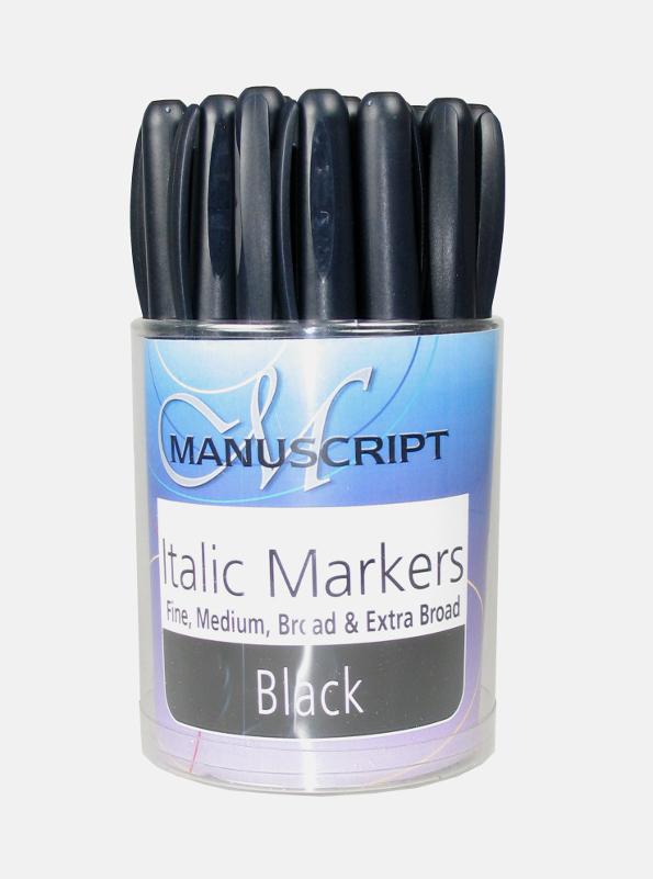 Kalligrafipenna Manuscript Burk med 25 sorterade Italic Markers MM6525