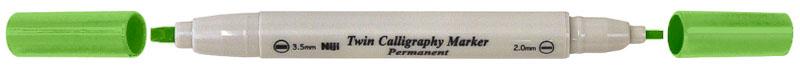 Kalligrafipenna NiJi Twin Calligrafi Ljusgrön Perm.