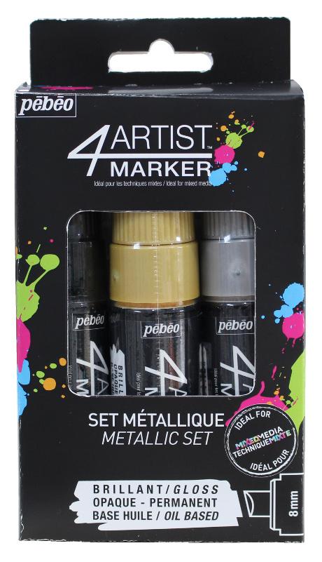 Oljebaserad Marker Pebeo 4Artist Marker Set 3x8mm Metal