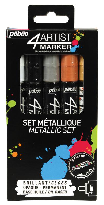 Oljebaserad Marker Pebeo 4Artist Marker Set 5x4mm Metal