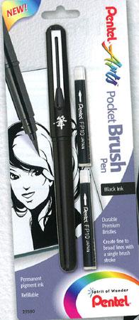 Penselpenna Pentel Pocket Brush Pen & 2 patroner Svart XGFKP/FP10 (ex144)
