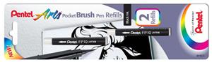 Penselpenna Pentel Refill Pocket Brush Pen, 4p Svart FP10