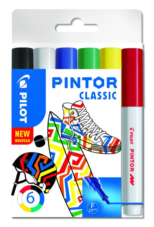 Fiberpennset Pilot Pintor - Set Classic Mix -x6- Fine - Svart Blå Röd Grön Vit
