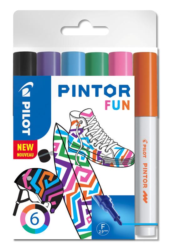 Fiberpennset Pilot Pintor - Set Fun Mix -x6- Fine - Svart Violett Ljusblå Rosa Ljusgrön Orange