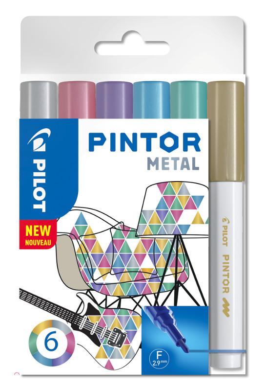 Fiberpennset Pilot Pintor - Set Metal Mix -x6- Fine - Guld Blå Rosa Grön Violett Silver