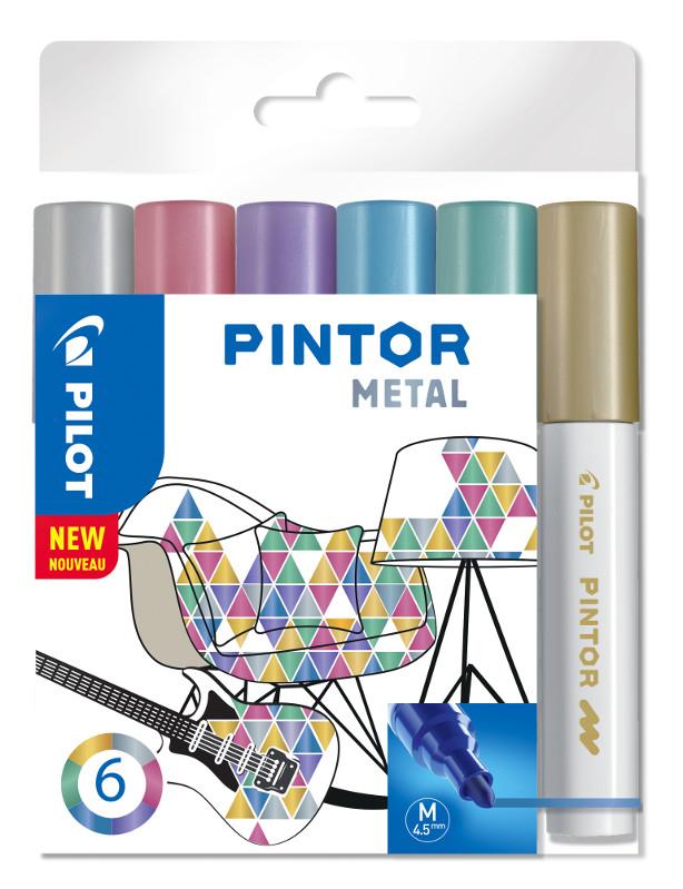 Fiberpennset Pilot Pintor - Set Metal Mix -x6- Medium - Guld Blå Rosa Grön Violett Silver